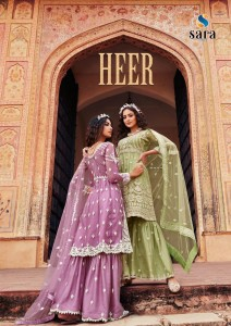 SARA TRENDZ HEER BUTTERFLY NET WITH HEAVY EMBROIDERY WORK PAKISTANI STYLE SALWAR SUITS CATALOGUE