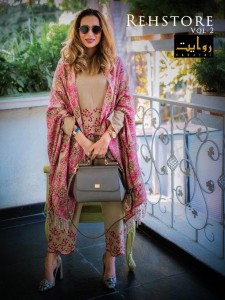 RAWAYAT FASHION REHSTORE VOL 2 JAM SILK WITH HEAVY SELF EMBROIDERY WORK PAKISTANI SUITS CATALOGUE
