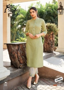 100 MILLES SHADES KURTI WITH BOTTOM COMBO COTTON CATCHY LOOK KURTI WITH PANT CATALOGUE