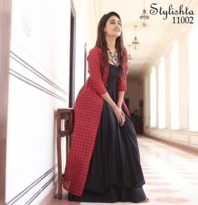 STYLISHTA VOL 11 PURE MASLIN WITH DIGITAL PRINT LONG FLAIR GOWN STYLE KURTIS AND CHANDERI FABRIC JACKETS CATALOGUE