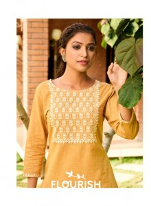 100 MILES FLOURISH COTTON AUTHENTIC FABRIC KURTI WITH COMBO PANT CATALOGUE
