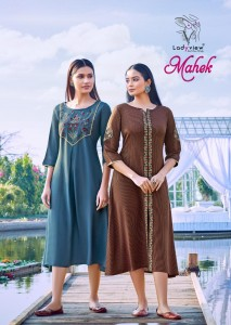 LADYVIEW MAHEK WEAVING RAYON STRIPS WITH HEAVY EMBROIDERY WORK KURTIS CATALOGUE