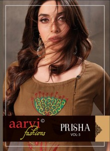 AARVI FASHIONS PRISHA VOL 3 RUBBY COTTON WITH HEAVY EMBROIDERY STRAIGHT TYPE KURTIS CATALOGUE