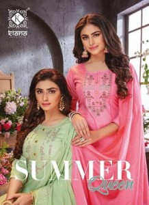 KIANA SUMMER QUEEN PURE COTTON KURTIS AND BOTTOM WITH DUPATTA CATALOGUE