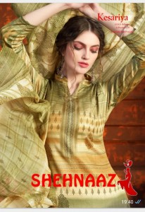 KESARIYA SHEHNAAZ PURE JAM DIGITAL PRINT WITH SWAROVSKI WORK SALWAR SUITS CATALOGUE