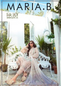 FAIR LADY MARIA B PURE JAM SATIN DIGITAL PRINT WITH HEAVY EMBROIDERY WORK PAKISTANI SUITS CATALOGUES