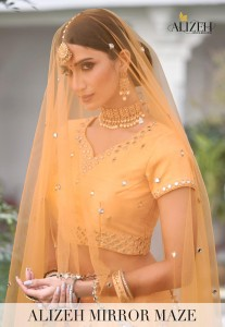 ALIZEH MIRROR MAZE VOL 2 HEAVY SILK WITH ZARI EMROIDERY MIRROR WORK WEDDING WEAR LEHENGAS CATALOGUE