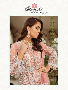 RAMSHA VOL 7 R-291-R-292-R-293-R-294 SERIES GEORGET ATTRACTIVE PAKISTANI STYLE SUITS CATALOGUE