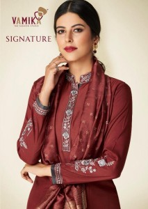 VAMIKA NX SIGNATURE PURE MASLIN SILK WITH COTTON INNER KURTIS AND PLAZZO CATALOGUE