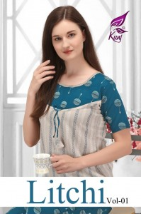KUNJ LITCHI VOL 1 RAYON PRINT NIGHT WEAR WITH ONE SIDE POCKET READY MADE TOP BOTTOM CATALOGUE