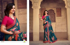 VINAY FASHION SHEESHA STARWALK 63 PRINTED GEORGETTE WITH JACQUARD BORDER FANCY SARESS CATALOGUE