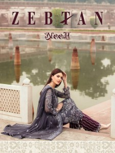NOOR TEXTILE ZEBTAN FOX GEORGETTE WITH HEAVY SELF EMBROIDERY WORK PAKISTANI STYLE SUITS CATALOGUE
