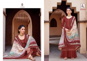 ALOK SUIT ALEXA PURE JAM DYED WITH FANCY EMBROIDERY WORK DRESS MATERIAL SALWAR SUITS CATALOGUE