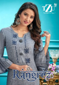TZU RANGREZ COTTON CATCHY LOOK KURTI WITH PLAZZO CATALOGUE