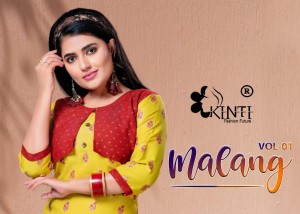 KINTI MALANG VOL 1 RAYON TWO TONE WITH FOIL PRINT ATTECHED JACKET FANCY TOP AND SKIRT CATALOGUE