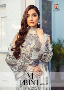 SHRADDHA DESIGNER M PRINT VOL 7 LAWN COTTON PRINTED WITH HEAVY EMBROIDERY WORK PAKISTANI SUITS CATALOGUE