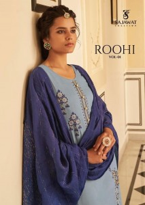 SAJAWAT CREATION ROOHI VOL 1 STEPAL VISCOSE WITH HEAVY WORK READYMADE SUITS CATALOGUE