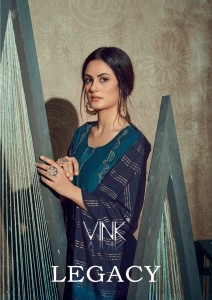VINK LEGACY VISCOSE SILK WITH MUSLIN EMBROIDERED WORK FORMAL WEAR KURTIS AND PLAZZO CATALOGUE