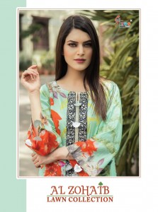 SHREE FABS AL ZOHAIB LAWN COLLECTION COTTON PAKISTANI STYLE DAILY WEAR DRESS MATERIALS CATALOGUE
