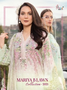 SHREE FABS MARIYA B LAWN COLLECTION 2021 LAWN PRINT WITH EXCLUSIVE EMBROIDERY WORK PAKISTANI SUITS CATALOGUE