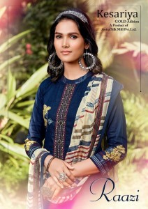 KESARIYA RAAZI PURE CAMBRIC DIGITAL PRINT WITH NECK EMBROIDERY MIRROR WORK SALWAR SUITS CATALOGUE