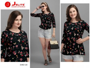 JELITE TULIP VOL 3 POLYESTER CREPE FANCY DESIGNER REGULAR WEAR SHORT TOPS AT LOWEST PRICE