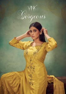 VINK GORGEOUS VISCOSE PARTY WEAR KURTA DUPATTA WITH SHARARA STYLISH COLLECTION CATALOGUE