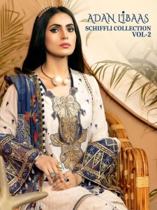 SHREE FABS ADAN LIBAAS SCHIFFLI COLLECTION VOL 2 COTTON EMBROIDERY PAKISTANI SUITS CATALOGUE