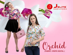 JELITE ORCHID POLY CREPE DIGITAL PRINT REGULAR COMFORTABLE WEAR SHORT TOPS CATALOGUE
