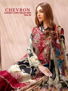 SHREE FABS CHEVRON LUXURY LAWN COLLECTION VOL 1 PAKISTANI COTTON DRESSES CATALOGUE