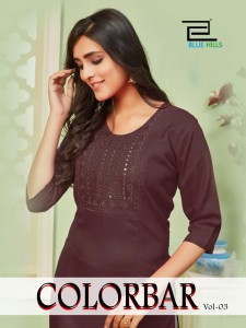 BLUE HILLS COLORBAR VOL 3 RAYON WITH EMBROIDERY HAND WORK LONG STRAIGHT TYPE REGULAR WEAR KURTIS CATALOGUE