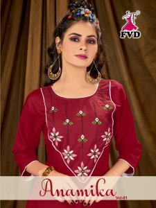FASHION VALLEY DRESSES ANAMIKA VOL 1 RAYON DECENT EMBROIDARY LOOK TOP WITH BOTTOM CATALOGUE