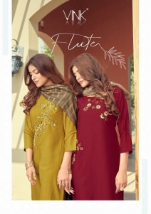 VINK FLUTE VISCOSE NEW AND MODERN STYLE KURTI WITH BOTTOM AND DUPATTA CATALOGUE