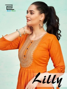 BLUE HILLS LILLY RAYON TWO TONE PRINT WITH SEQUENCE EMBROIDERY WORK LONG STRAIGHT TYPE REGULAR WEAR KURTIS CATALOGUE