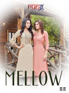 RUNG MELLOW HEAVY TWO TONE RAYON WITH EMBROIDERY WORK LONG STRAIGHT TYPE CASUAL WEAR KURTIS CATALOGUE